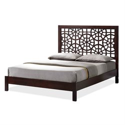 Sakuro Wood Queen Platform Bed in Dark Brown