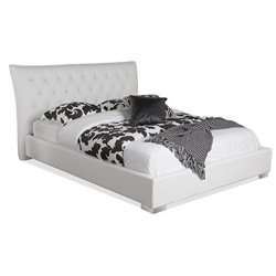 Marina Leather Upholstered King Platform Bed in White