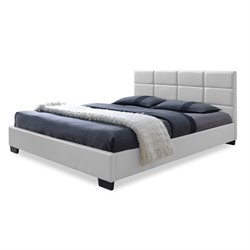 Vivaldi Leather Upholstered Full Platform Bed in White