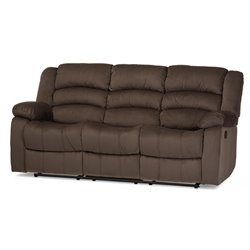Hollace Microsuede Reclining Sofa in Taupe