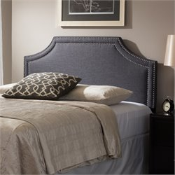 Avignon Upholstered Queen Headboard in Dark Gray