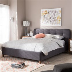 Germaine Queen Platform Bed in Dark Gray