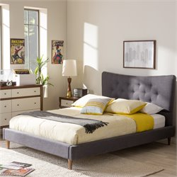 Hannah Queen Platform Bed in Dark Gray