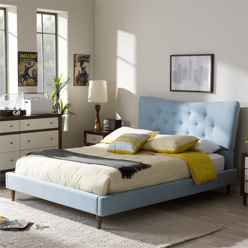 Hannah Blue Queen Upholstered Bed