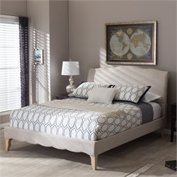 Fannie Queen Platform Bed in Beige