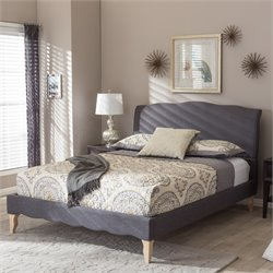 Fannie Queen Platform Bed in Dark Gray