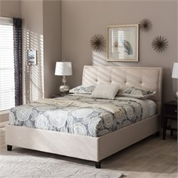 Lea Queen Platform Bed in Beige
