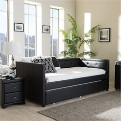 Frank Faux Leather Twin Daybed in Black