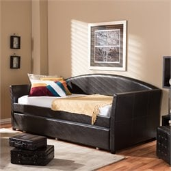 London Faux Leather Twin Daybed in Brown