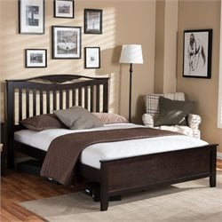 Seconique Full Platform Bed in Dark Brown