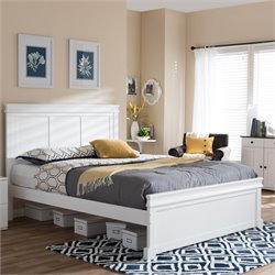 Amber King Platform Bed in White