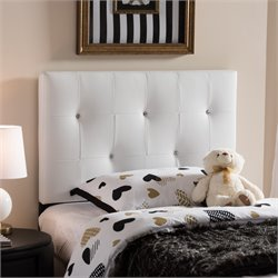 Kirchem Faux Leather Upholstered Twin Headboard in White