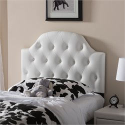 Morris Faux Leather Upholstered Twin Headboard in White