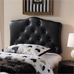 Rita Faux Leather Upholstered Twin Headboard in Black