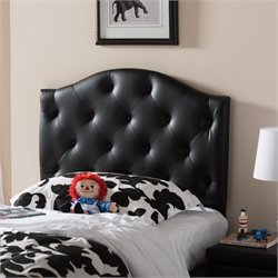 Myra Faux Leather Upholstered Twin Headboard in Black