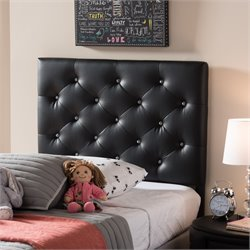Viviana Faux Leather Upholstered Twin Headboard in Black