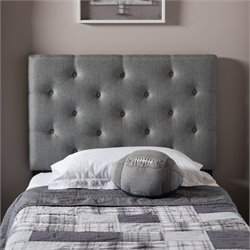 Viviana Faux Leather Upholstered Twin Headboard in Gray