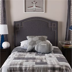 Aubrey Upholstered Twin Headboard in Dark Gray