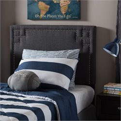 Geneva Upholstered Twin Headboard in Dark Gray