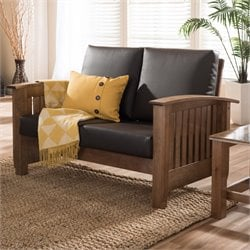 Charlotte Faux Leather Loveseat in Dark Brown