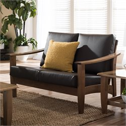 Pierce Faux Leather Loveseat in Dark Brown