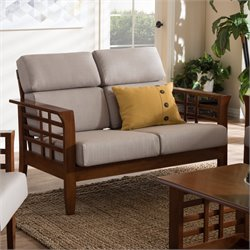 Larissa Upholstery Loveseat in Taupe