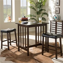 Nova Wood 3 Piece Pub Set in Dark Brown