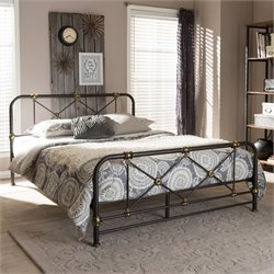 Beatrice Queen Metal Platform Bed in Antique Bronze
