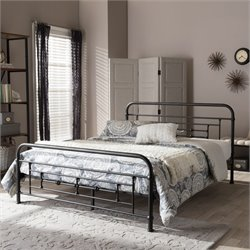 Georgina Queen Metal Platform Bed in Antique Bronze