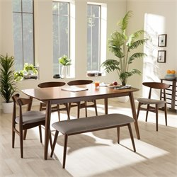 Flora 6 Piece Dining Set in Medium Brown