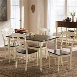 Napoleon 5 Piece Dining Set in Brown and Cream