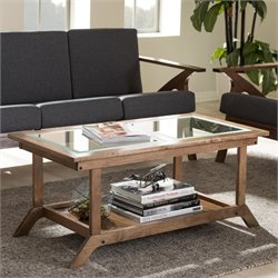 Cayla Glass-Top Coffee Table in Walnut