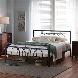 Rosalyn Queen Metal Platform Bed in Antique Bronze