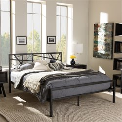 Barkley Queen Metal Platform Bed in Antique Bronze