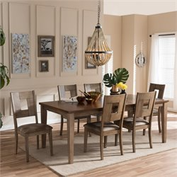 Gillian 7 Piece Extendable Dining Set in Brown