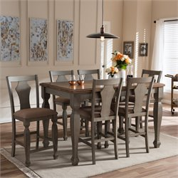 Arianna 7 Piece Counter Height Dining Set in Light Brown