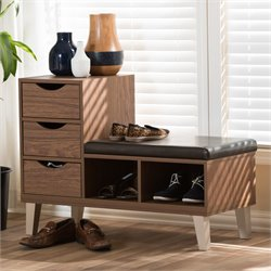 Arielle Storage Shoe Storage Bench in Walnut