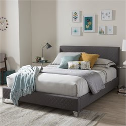 Harlow Upholstered Queen Platform Bed in Gray