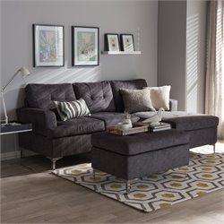 Riley Upholstered 3 Piece Sectional in Gray