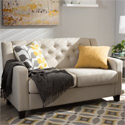 Arcadia Upholstered Loveseat in Light Beige