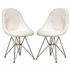 Tufted  Dining Chair in White (Set of 2)