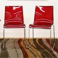Lino Accent Dining Chair in Red (Set of 2)