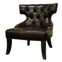 Leather Tufted Lounge Chair in Brown