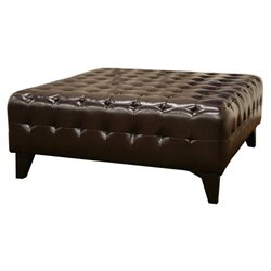 Pemberly Square Ottoman in Dark Brown