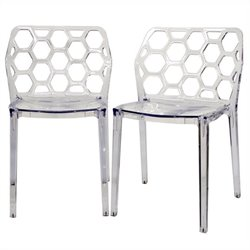 Honeycomb Dining Chair in Clear (Set of 2)