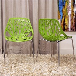 Birch Sapling Dining Chair in Green (Set of 2)