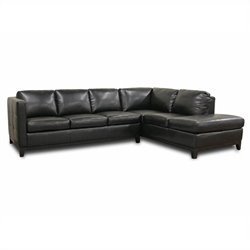 Rohn Leather Sectional Sofa in Black