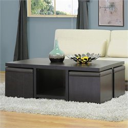 Prescott Table and Stool Set with Hidden Storage in Dark Brown