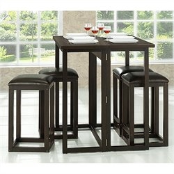 Leeds Collapsible Pub Table Set in Dark Brown
