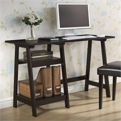 Mott Desk with Small Sawhorse Legs in Dark Brown